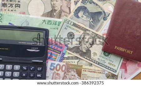 Money international Background, passport,calculator  concept  Money for  travel , for  Currency exchange - stock photo