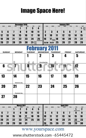 5 month 2011 calendar, February, with copy space and text space. Page one of 12 - stock photo