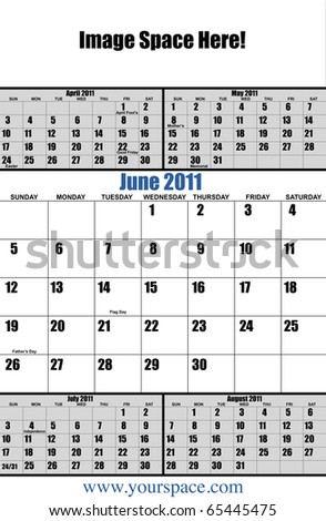 5 month 2011 calendar, June, with copy space and text space. Page one of 12 - stock photo