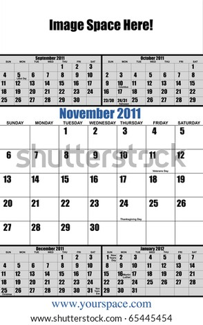 5 month 2011 calendar, November, with copy space and text space. Page one of 12 - stock photo