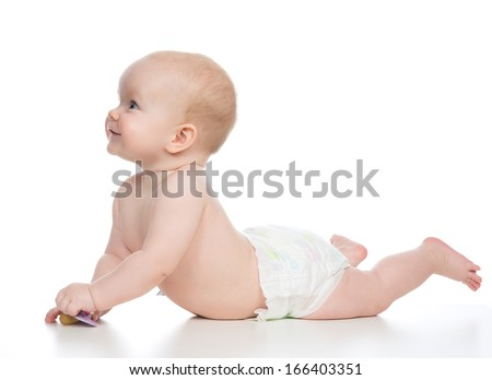 6 month infant child baby boy lying happy smiling on a white background - stock photo