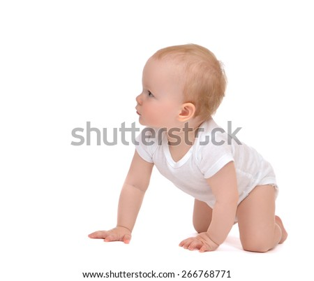 9 month Infant child baby toddler kid crawling isolated on a white background - stock photo