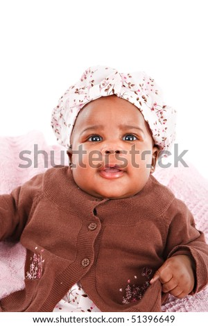 3 Month Old Adorable Little Baby African American Girl Portrait on White Background - stock photo