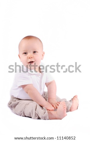 7 Month Old Baby Boy on White Background. - stock photo