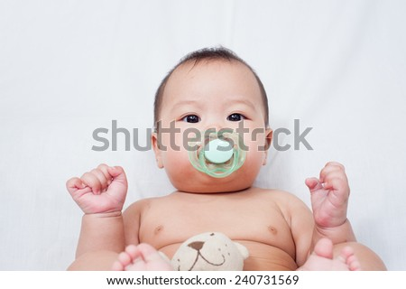 6 month sweet baby with soother