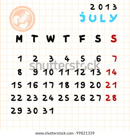 2013 monthly calendar July with Cancer zodiac sign stamp