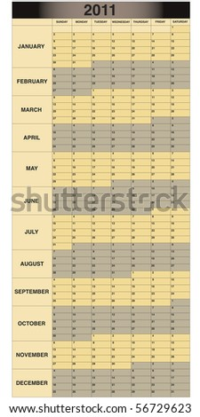 2011 Monthly Scheduling Calendar with Sunday start date. - stock photo