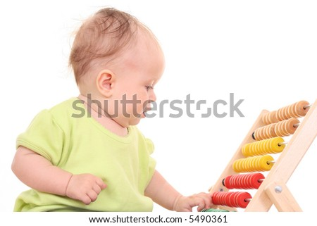 6 months baby girl with abacus isolated on white - stock photo