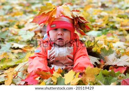 7-months Baby-girl with leaves on head sitting in pile of maple leaves - stock photo