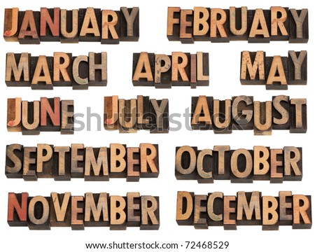 12 months of the year from January to December in vintage wood letterpress printing blocks, isolated on white - stock photo