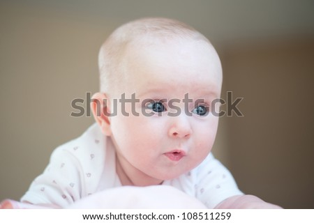 2-3 months old beautiful baby - stock photo