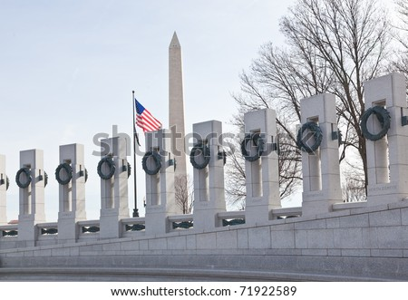 Monument and the World War II Memorial in DC - stock photo