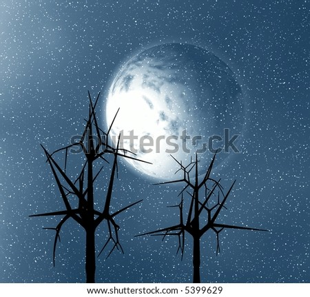 Moon and trees. Winter abstract .
