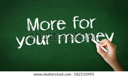 """""""More for your money"""" Chalk Illustration - stock photo"""