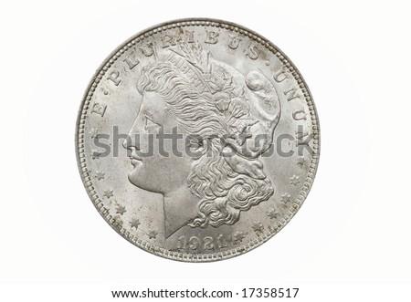 1921 Morgan Silver Dollar - stock photo