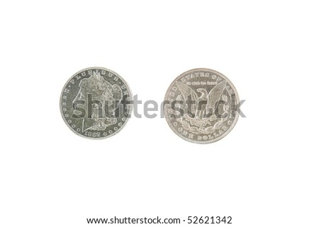 1887 Morgan Silver Dollar isolated on white - stock photo