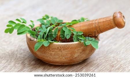 Moringa leaves with mortar and pestle - stock photo