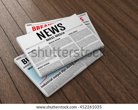 Morning newspapers on wooden floor or table. 3D illustration of latest issue. - stock photo