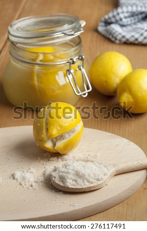 Moroccan Preserved Lemons with salt - stock photo