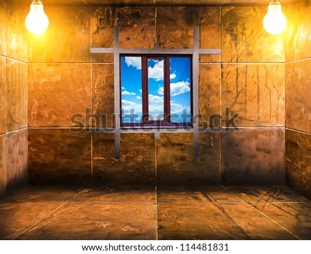 mosaic room with lamps and window - stock photo