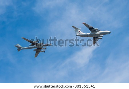 MOSCOW, RUSSIA - MAY 9, 2015:  The demonstration refueling on-flight the russian heavy bomber TU-95MS. Parade dedicated to May 9, 70-th Victory Day in World War II, Moscow, Russia.