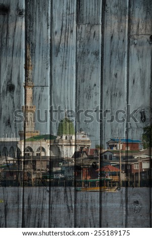 """mosque in Bangkok"" Mural. The wood painting  concept - stock photo"