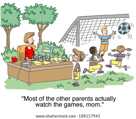 """Most of the other moms actually watch the games."" - stock photo"