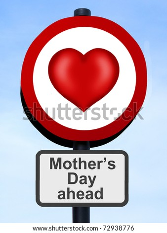 Mother's Day road sign against a blue sky - stock photo