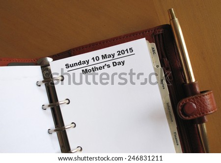 Mother's Day 10th May reminder in a personal organizer                                - stock photo