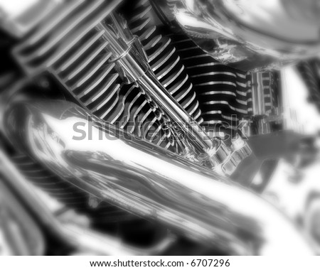 motorcycle chrome metal grille, selective focus, black and white - stock photo