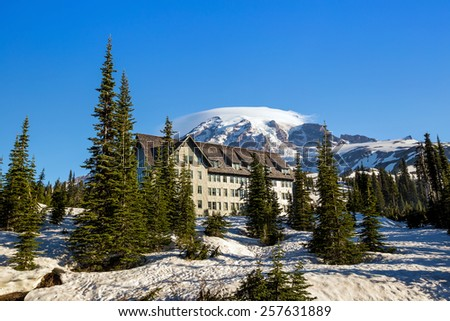 Mount Rainier with blue sky - stock photo