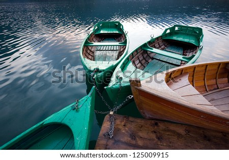 mountain lakes and boats - stock photo