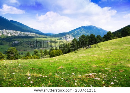 mountain landscape with meadow. Catalonia - stock photo