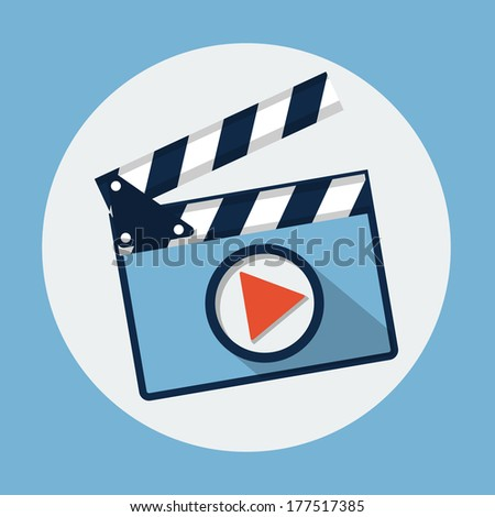 Movie slate clapperboard flat icon - stock photo
