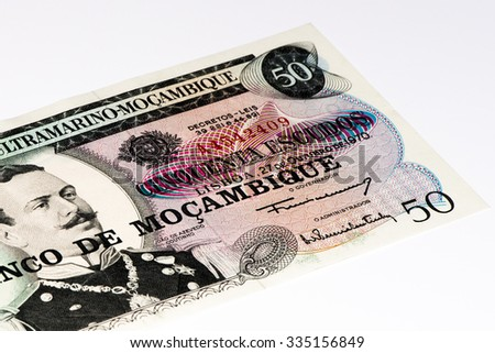 50 Mozambican escudos bank note. Mozambican escudo is former currency of Mozambique - stock photo
