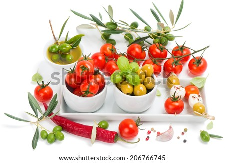 mozzarella cheese with tomatoes,  olives and spices on white background