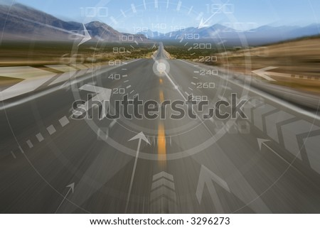 300 mph in the desert - stock photo