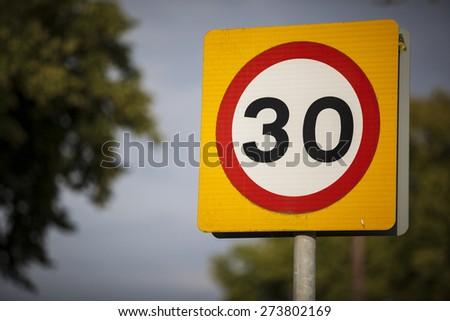 30 mph speed awareness warning road sign - United Kingdom - stock photo