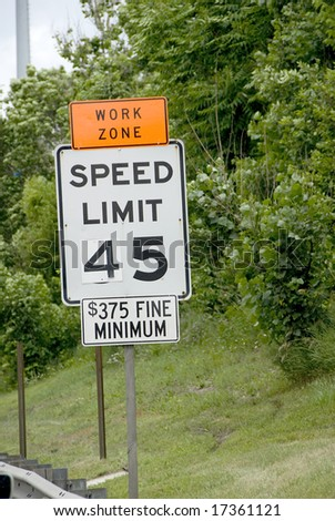 45 mph speed limit sign - stock photo
