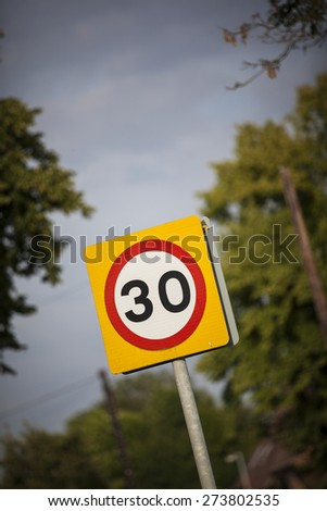30mph Speed limit sign - United Kingdom - stock photo