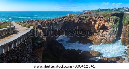 "55 MPx panorama of a cliff cavern ""Boca do Inferno"" - Cascais, Portugal - stock photo"