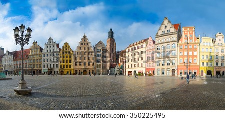 64 mpx Panoramic view of architecture medieval facades Market Square, one of the largest medieval squares in Europe. Wroclaw, Poland. EU.