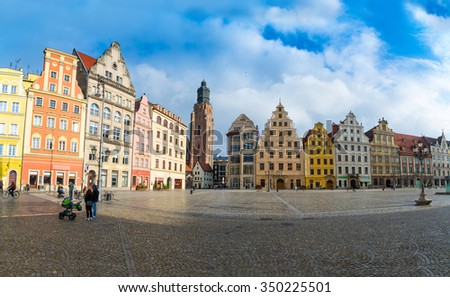 53 mpx Panoramic view of architecture medieval facades Market Square, one of the largest medieval squares in Europe. Wroclaw, Poland. EU. - stock photo