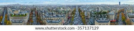 45 mpx Panoramic view of Paris from the Arc de Triomphe. Autumn. Rain. Sun. - stock photo