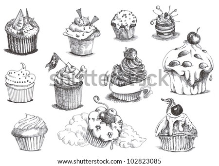 """Muffins"". Hand drawn picture - black marker. (This is original picture.) - stock photo"