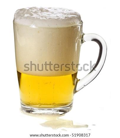 mug full of golden beer isolated on the white background - stock photo