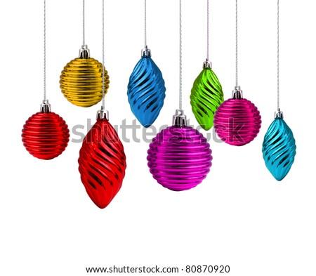 Multi color Christmas decoration set rainbow spectrum - stock photo