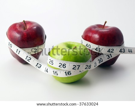 3 multicolored Apples circled with measuring tape
