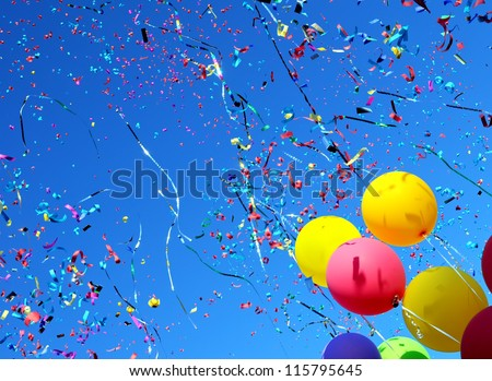 multicolored balloons and confetti in the city festival #6 - stock photo