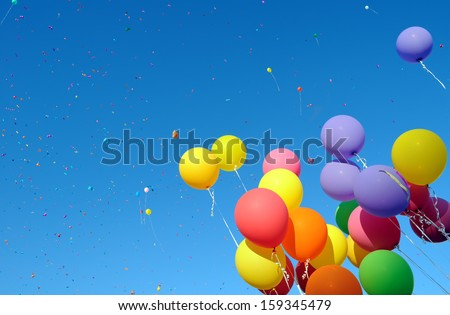 multicolored balloons and confetti in the city festival#9 - stock photo